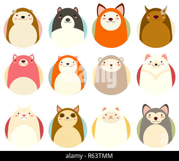 Set of avatars icons in naive hand drawn style with cute animals in retro pastel colors. EPS8 - Stock Photo