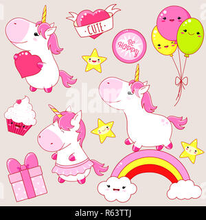 Set of cute unicorns in kawaii style. Unicorn on rainbow, with heart, cupcake, three balloon, star, sticker with inscription be happy. EPS8 - Stock Photo