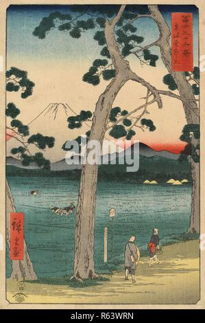 Mount Fuji to the Left of the Tokaido, from the series Thirty-Six Views of Mount Fuji. Date: fourth month 1858. Dimensions: 34 cm x 22 cm. Museum: Van Gogh Museum, Amsterdam. Author: HIROSHIGE, UTAGAWA. Hiroshige. - Stock Photo