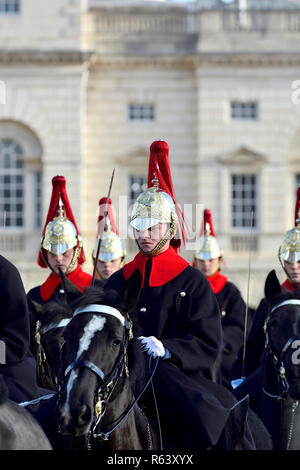 Household Cavalry - Blues and Royals - on Horse Guards Parade, London, England, UK. - Stock Photo