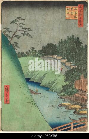 The Shohei Bridge Over the Kanda River and a Confucian Temple, from the series One Hundred Views of Famous Places in Edo. Date: ninth month 1857. Dimensions: 34 cm x 22 cm. Museum: Van Gogh Museum, Amsterdam. Author: HIROSHIGE, UTAGAWA. - Stock Photo