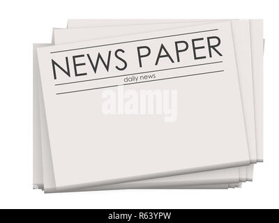 Pile of blank newspapers isolated on white background - Stock Photo