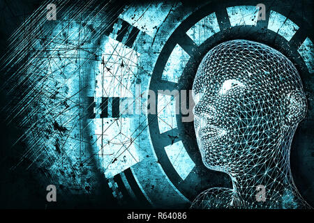 Abstract blue digital human head on dark grunge background. Robotics concept. 3D Rendering - Stock Photo