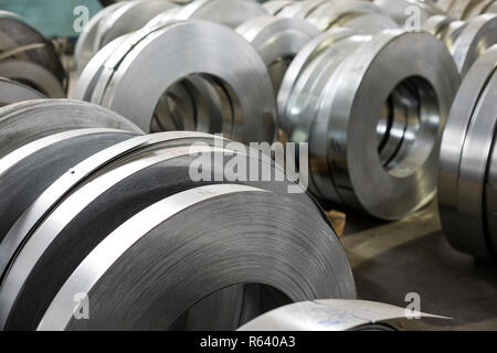sheet tin metal rolls - Stock Photo