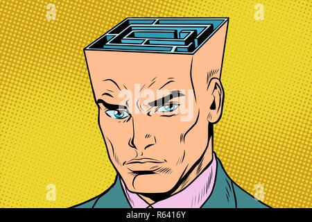 head maze man thinks - Stock Photo