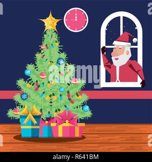 santa claus in window and tree plant christmas vector illustration design - Stock Photo