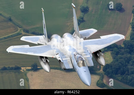United States Air Force (USAF) McDonnell Douglas F-15 Eagle in flight. Photographed at Royal International Air Tattoo (RIAT) - Stock Photo