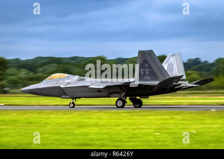 Lockheed Martin F-22 Raptor is a fifth-generation, single-seat, twin-engine, all-weather stealth tactical fighter aircraft developed for the United St - Stock Photo