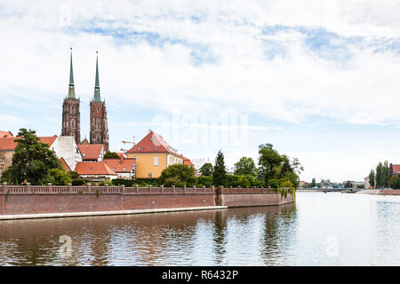 Oder River and Ostrow Tumski island in Wroclaw - Stock Photo