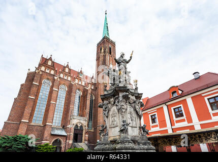 John of Nepomuk statue in Wroclaw city - Stock Photo