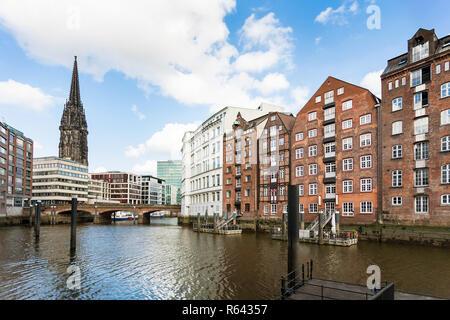 waterfront of Nikolaifleet canal in Hamburg city - Stock Photo