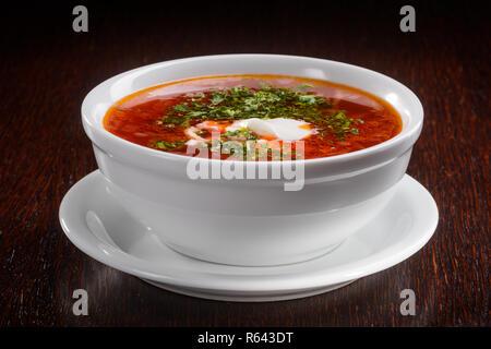 Famous Ukrainian tasty soup - Stock Photo