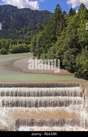 the lech with the lechfall near fussen - Stock Photo