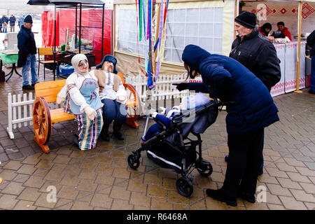 Minsk, Belarus, 02.02.2018: The celebration of Shrovetide in Russia, dance - Stock Photo