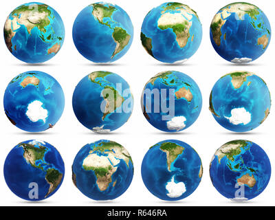 Planet Earth set 3d rendering - Stock Photo