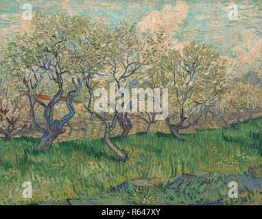 Orchard in Blossom. Date: April 1889, Arles. Dimensions: 73.2 cm x 93.1 cm, 93.0 cm x 111.7 cm. Museum: Van Gogh Museum, Amsterdam. Author: VAN GOGH, VINCENT. VINCENT VAN GOGH. - Stock Photo