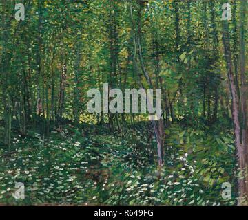 Trees and Undergrowth. Date: July 1887, Paris. Dimensions: 46.2 cm x 55.2 cm, 61.5 cm x 71 cm. Museum: Van Gogh Museum, Amsterdam. Author: VAN GOGH, VINCENT. VINCENT VAN GOGH. - Stock Photo