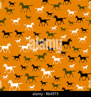 Colored Running Horse Seamless Pattern - Stock Photo