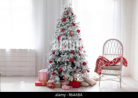 Christmas background Christmas decoration gifts toys snowflakes Christmas tree holiday Interior - Stock Photo