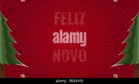 Happy New Year text in Portuguese 'Feliz Ano Novo' filled with 'Happy New Year' text in many different laguages on a red snowy background with pine tr - Stock Photo