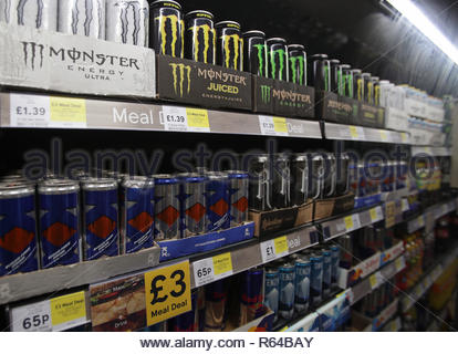 Embargoed to 0001 Tuesday December 04 File photo dated 26/01/18 of shelves of energy drinks on sale. There is not sufficient evidence to warrant a blanket ban on the sale of energy drinks to children, according to MPs. - Stock Photo