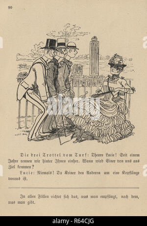 Vintage engraving of a Victorian cartoon of a group of men flirting with a woman and competing for her attention , 19th Century German - Stock Photo