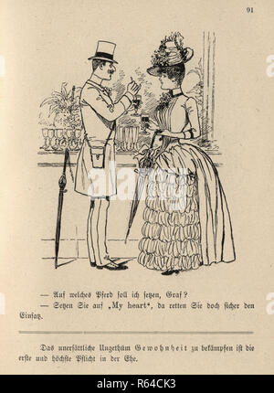 Vintage engraving of a Victorian cartoon of a a man and woman flirting and drinking wine, 19th Century German - Stock Photo