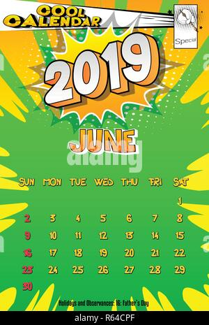 2019 retro style comic book calendar template with all twelve month