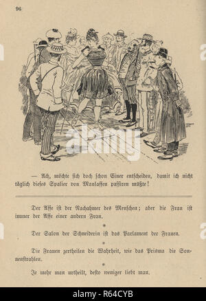 Vintage engraving of a Victorian cartoon of a group of men watching a young woman in a bathing costume, 19th Century German - Stock Photo
