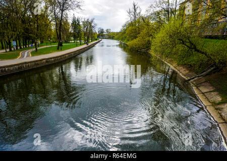 Minsk Svislach River in Gorky Park with Cloudy Sky Background - Stock Photo