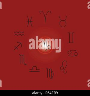 Astrological signs, Symbols of zodiac, horoscope, astrology and mystic signs vector illustration on a red background - Stock Photo