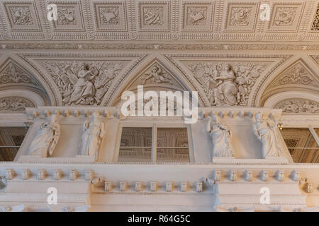 Interior ornate design features and architecture of The Hermitage Museum in St Petersburg, Russia. - Stock Photo