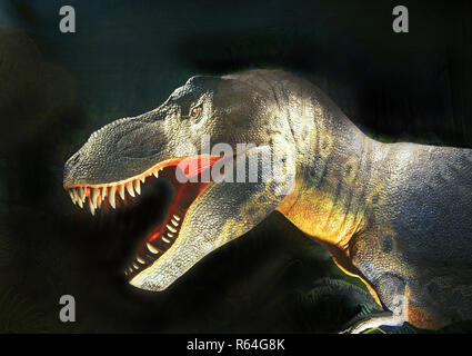 Detail of the dinosaur Tyrannosaurus rex, a large meat eating dinosaur that lived in North America 66 to 68 million years ago. It is commonly known as - Stock Photo