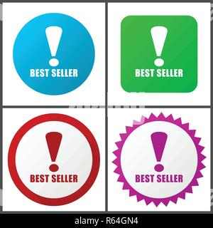 Best seller red, blue, green and pink vector icon set. Web icons. Flat design signs and symbols easy to edit - Stock Photo