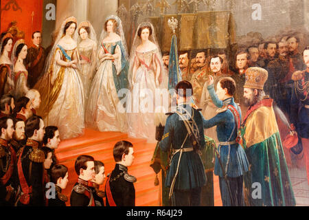 A section of a painting from the exhibition called The Romanovs at Tsarskoe Selo, which was on display at Catherine's Palace, St Petersburg, Russia. - Stock Photo