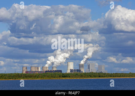 Boxberg Power Station / Kraftwerk Boxberg, lignite-fired power plant near Weißwasser / Weisswasser, Saxony, Eastern Germany - Stock Photo