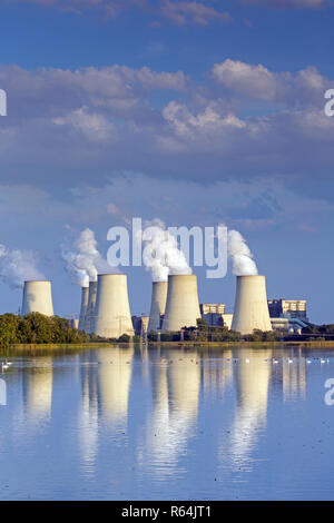 Jänschwalde / Jaenschwalde lignite-fired power station, third-largest brown coal power plant in Germany at Brandenburg, Spree-Neiße - Stock Photo