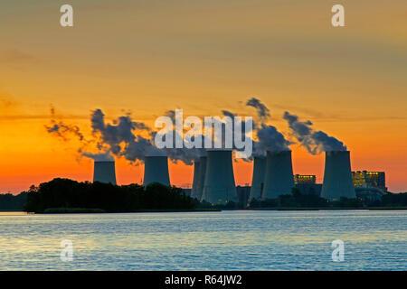 Jänschwalde / Jaenschwalde lignite-fired power station at sunset, third-largest brown coal power plant in Germany at Brandenburg, Spree-Neiße - Stock Photo