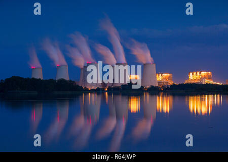 Jänschwalde / Jaenschwalde lignite-fired power station at night, third-largest brown coal power plant in Germany at Brandenburg, Spree-Neiße - Stock Photo