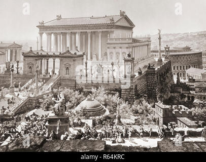 The Temple of Jupiter Optimus Maximus and behind, on the right, the Theatre of Marcellus as they may have appeared in Rome in 312 AD.  After a section of a panoramic painting of Rome created by Professor J. Bühlmann and Alexander Wagner and published in leporello, or fold-out, book form in Munich, 1892, titled Das Alte Rom mit dem Triumphzuge Kaiser Constantin's im Jahre 312 - Stock Photo
