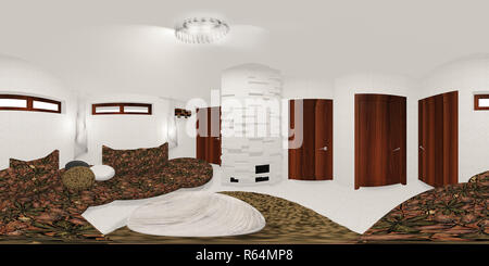 hdri map of white room 3d illustration - Stock Photo
