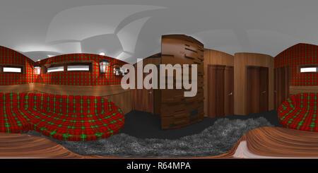 hdri room interior with tartan 3d illustration - Stock Photo