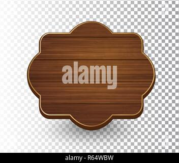 Wooden isolated retro vintage frame template on transparent background. Banner, sign, signboard. Vector illustration EPS 10 - Stock Photo