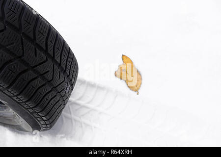 good winter tires for autumn and winter are important. winter tires for snow - Stock Photo