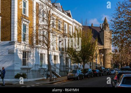 Ladbroke Road and Kensington Temple, Notting Hill, London - Stock Photo