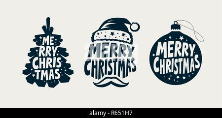 Merry Christmas, label set. Xmas, holiday symbol. Typographic design vector illustration - Stock Photo