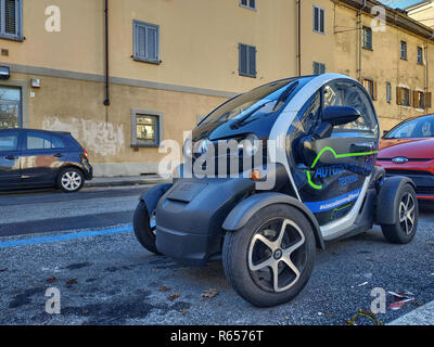 Turin, Piedmont, Italy. November 2018. Walking around the Renault Twizy: we can see the compactness of this two-seater electric motorized quadricycle. - Stock Photo