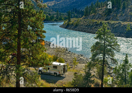 Camping along the Thompson River, Goldpan Provincial Park, British Columbia, Canada