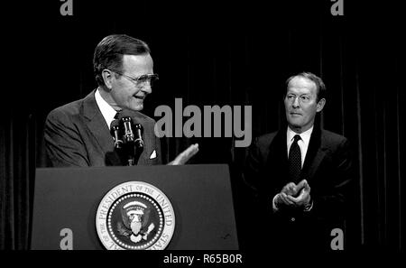 Washington, DC. 4-18-1991 President George H.W. Bush along with Secretary of Education Lamar Alexander gives a strategy briefing on the state of National Education.  Credit: Mark Reinstein /MediaPunch - Stock Photo