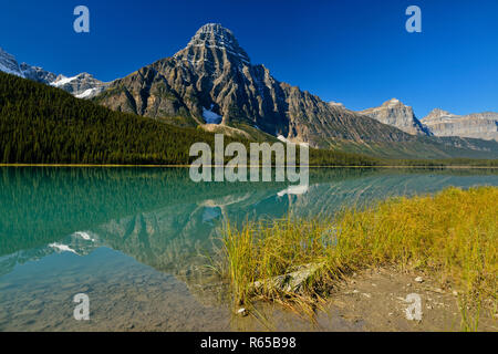 Mt. Chephren reflections in Waterfowl Lake, Banff National Park, Alberta, Canada - Stock Photo